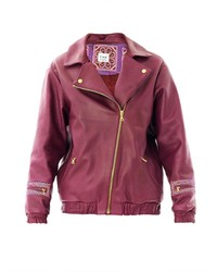 THU THU Airside Leather Bomber Jacket