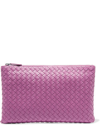 Medium intrecciato leather pouch purple medium 706592