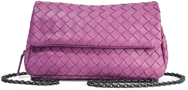 cbefd79ec944 ... Bottega Veneta Messenger Mini Intrecciato Leather Shoulder Bag Purple  ...