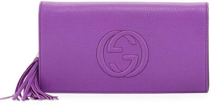Gucci Soho Leather Clutch Bag Purple