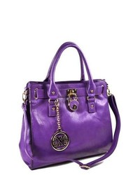 TheDapperTie Purple Leather Like Front Decorative Lock Hand Bag F72