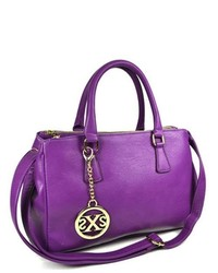 TheDapperTie Purple Leather Like Tote Bag With Top Zip Closure F71