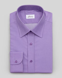 Brioni Woven Dress Shirt Purple