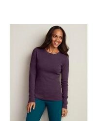 Eddie bauer favorite long sleeve crewneck t shirt regent purple heather xs regular regular medium 84373
