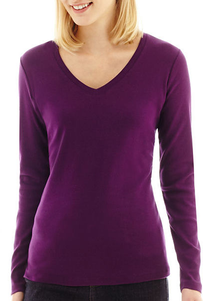 Jcpenney st johns bay st johns bay long sleeve v neck tee for Womens tall v neck t shirts