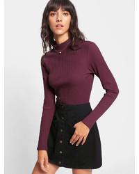 Romwe Solid Rib Knit T Shirt