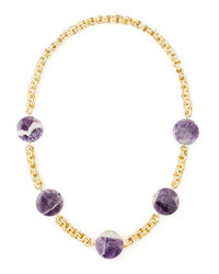 Devon Leigh Amethyst Coin Necklace Purple