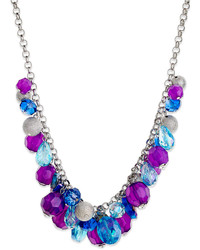 Style&co. Silver Tone Purple And Blue Bead Cluster Necklace