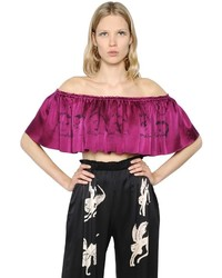 Cropped Ruffled Printed Satin Top