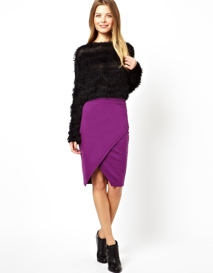 124294300a9 ... Purple Pencil Skirts Asos Collection Pencil Skirt In Sweat With Wrap  Detail ...