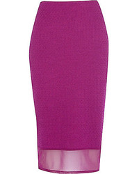 River Island Purple Mesh Hem Textured Pencil Skirt
