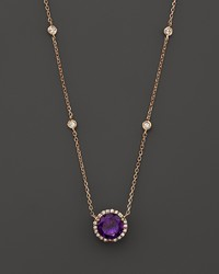 Bloomingdale's Amethyst And Diamond Halo Pendant Necklace With 4 Stations In 14k Rose Gold 16