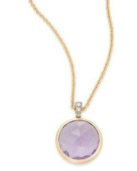 Marco Bicego Delicati Diamond Amethyst 18k Yellow Gold Pendant Necklace