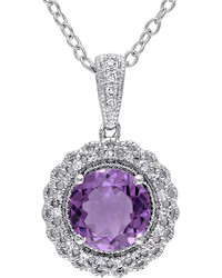 Fine Jewelry Genuine Amethyst And 110 Ct Tw Diamond Pendant Necklace