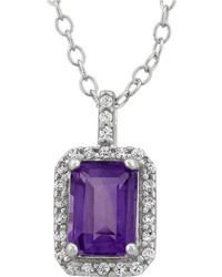 Fine Jewelry Genuine Amethyst Cubic Zirconia Sterling Silver Pendant Necklace