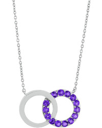 Fine Jewelry Genuine Amethyst Interlocking Double Circle Sterling Silver Necklace