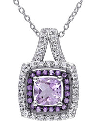 Fine Jewelry Genuine Rose De France Amethyst And Lab Created White Sapphire Pendant Necklace