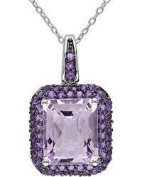 Fine Jewelry Genuine Rose De France And Amethyst Pendant Necklace