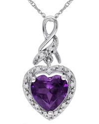 jcpenney Fine Jewelry Lab Created Alexandrite 10k White Gold Heart Shaped Pendant Necklace
