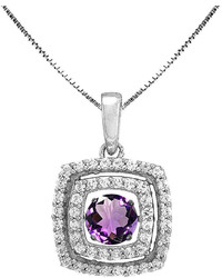 jcpenney Fine Jewelry Love In Motion Genuine Amethyst And Lab Created White Sapphire Cushion Cut Pendant Necklace