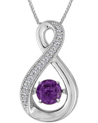 Fine Jewelry Love In Motion Lab Created Amethyst White Sapphire Sterling Silver Necklace