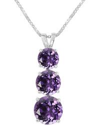 Fine Jewelry Round Genuine Amethyst Sterling Silver Pendant