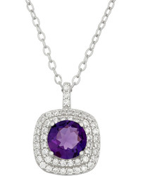 Fine Jewelry Simulated Amethyst Cubic Zirconia Sterling Silver Pendant Necklace