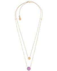 Michael Kors Michl Kors Goldtone Double Layered Pendant Necklace