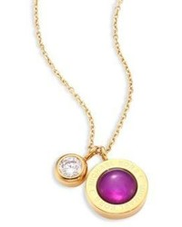 Michael Kors Michl Kors Purple Mother Of Pearl Crystal Logo Pendant Necklace