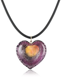 Akuamarina Silver Leaf And Murano Glass Heart Pendant Necklace