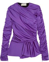 Balenciaga Gathered Satin Jersey Peplum Top Purple
