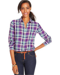 American Living Plaid Button Front Shirt