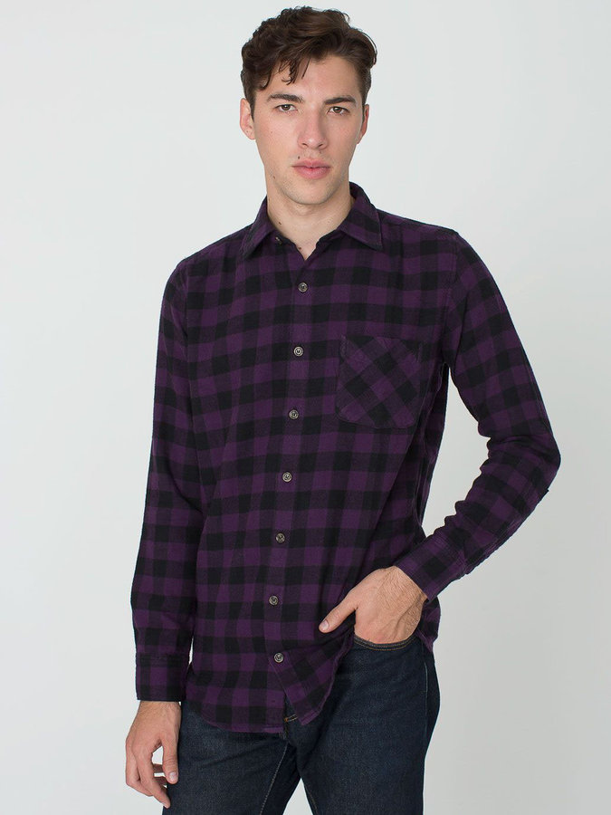 American apparel check plaid flannel long sleeve button up for Purple plaid button up shirt