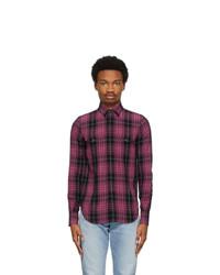 Saint Laurent Black And Pink Slim Tartan Shirt