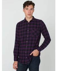 Check plaid flannel long sleeve button up with pocket medium 106580