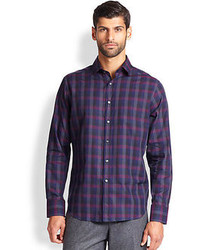 Saks Fifth Avenue Collection Plaid Sportshirt