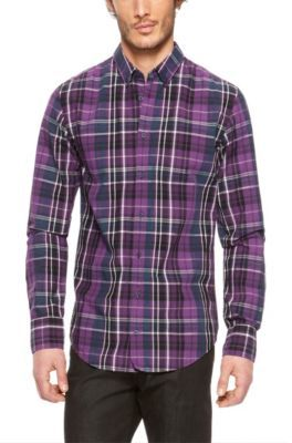 Purple Plaid Button Down Shirt Artee Shirt