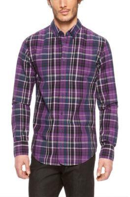 Hugo Boss Edipoe Slim Fit Cotton Plaid Button Down Shirt | Where ...