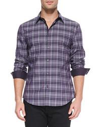 Vince Star Usa Plaid Button Down Shirt Purple