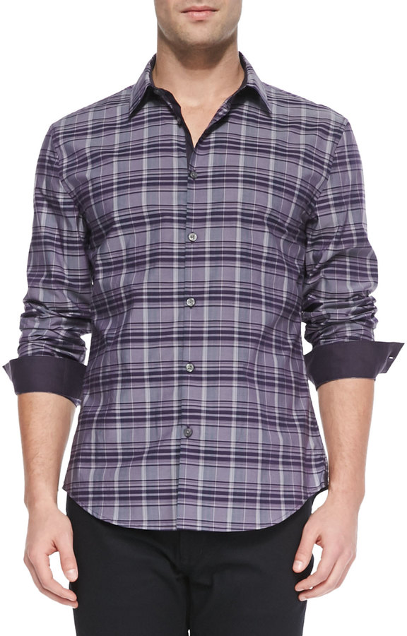 Purple Plaid Button Down Shirt Is Shirt