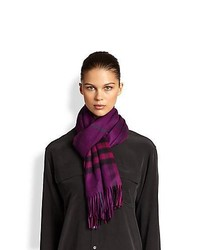 Burberry Giant Check Cashmere Scarf Purple