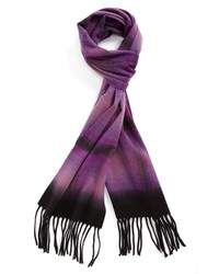 Nordstrom Plaid Dip Dye Woven Cashmere Scarf Purple One Size One Size