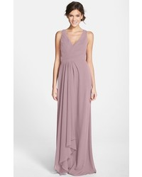 Monique Lhuillier Bridesmaids Sleeveless V Neck Chiffon Gown