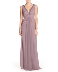 Monique Lhuillier Bridesmaids Deep V Neck Chiffon Tulle Gown