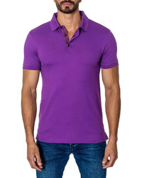 Jared Lang Short Sleeve Cotton Blend Polo Shirt Purple