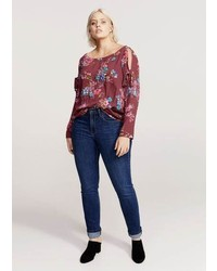 Violeta BY MANGO Printed Off Shoulder Blouse