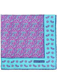 Edward Armah Mini Paisley Print Silk Pocket Square Purpleaqua