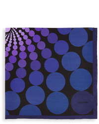 Tom Ford Floating Circle Print Pocket Square Purple