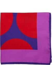 Duchamp Oversize Dot Print Pocket Square Blue