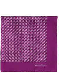 Salvatore Ferragamo Gancini Print Silk Pocket Square Purple